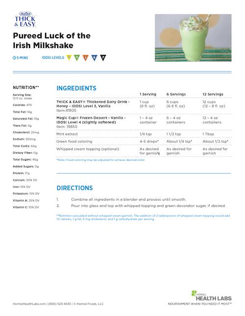 pureed luck of the irish mint shake milkshake recipe