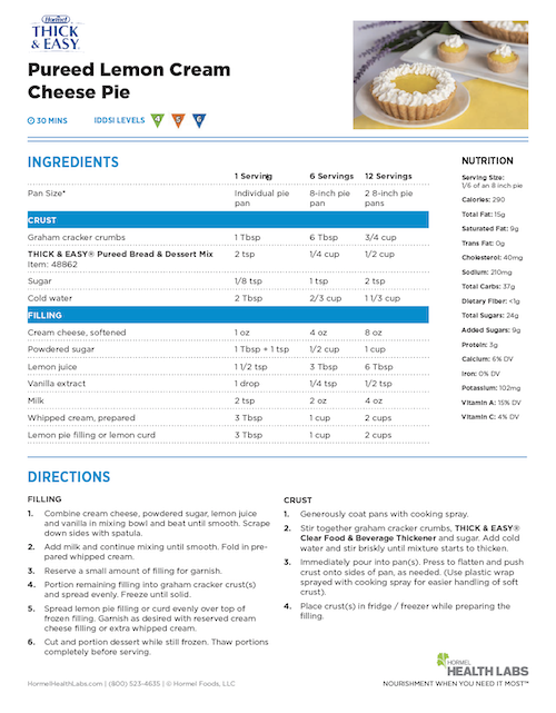 IDDSI 4 5 6 pureed lemon cream cheese pie recipe