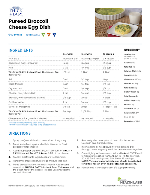 IDDSI 4 5 6 pureed broccoli cheese egg dish recipe