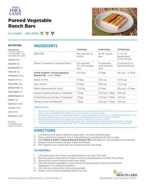 IDDSI 4 5 6 pureed vegetable ranch bars recipe
