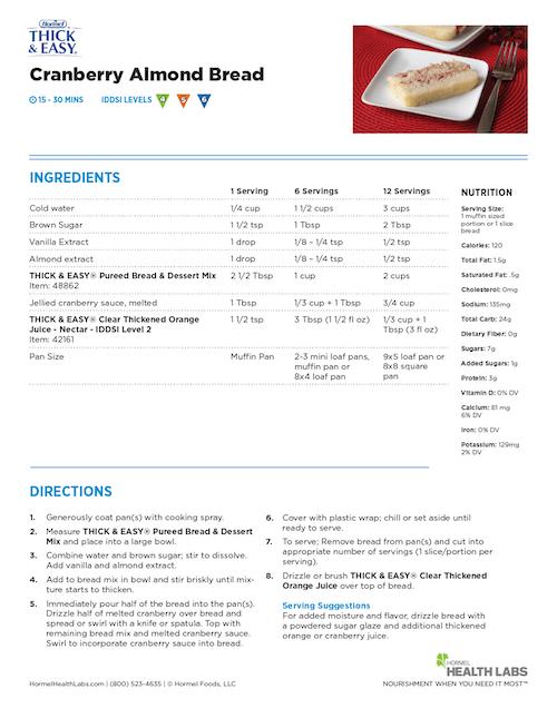 IDDSI 4 5 6 cranberry almond bread recipe
