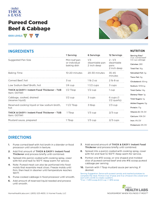 IDDSI 4 5 6 oureed corned beed and cabbage recipe