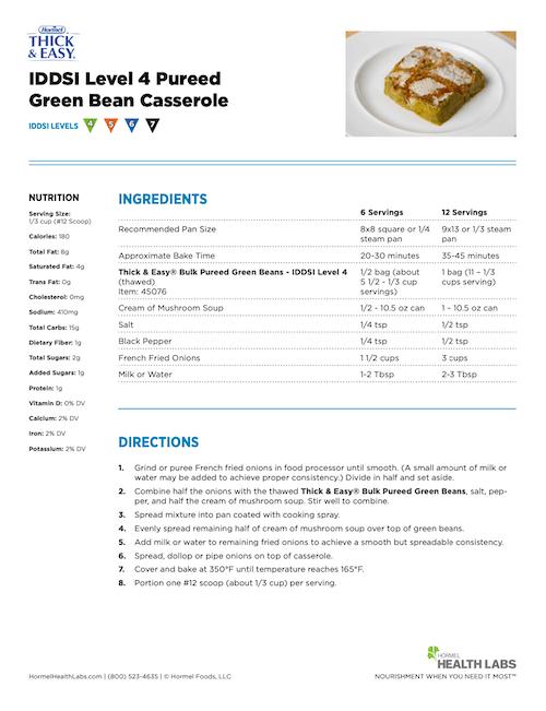 IDDSI 4 5 6 7 pureed green bean casserole recipe