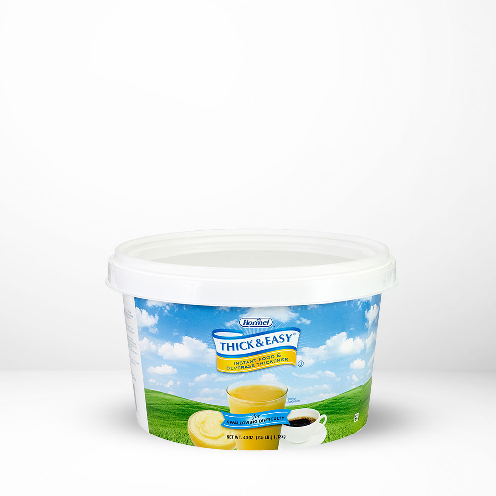 Thick and Easy Instant Thickener canister on table with white background