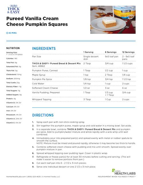 IDDSI pureed vanilla cream cheese pumpkin squares recipe