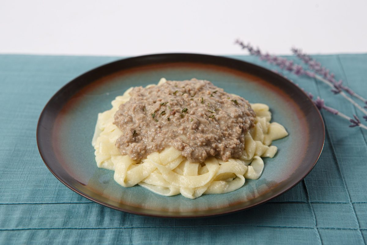 Thickened Beef Stroganoff on plate