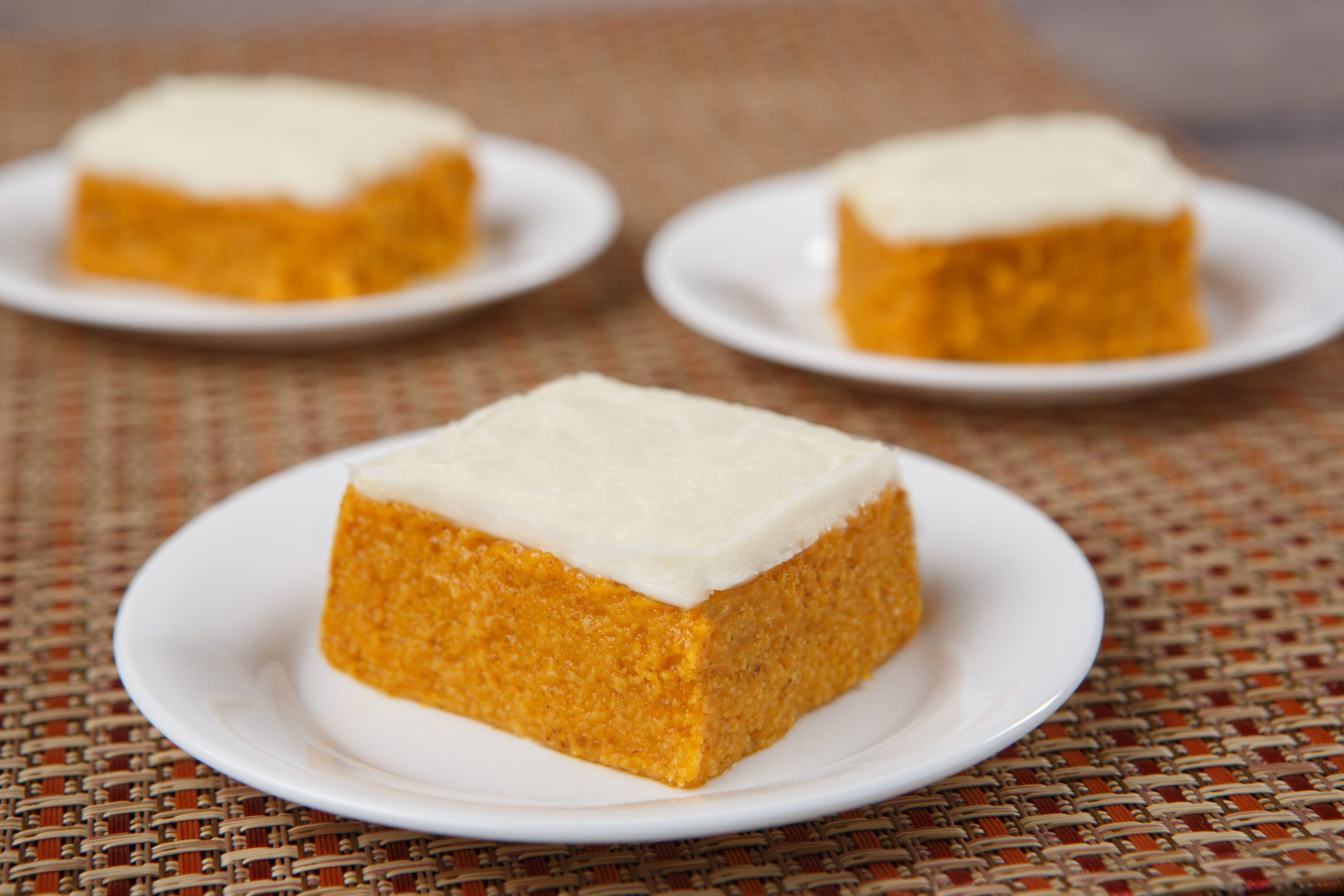 Thickened carrot cake on plate