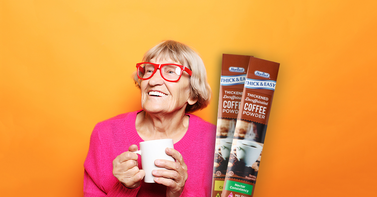 Elderly woman with Thick & Easy Coffee Sticks
