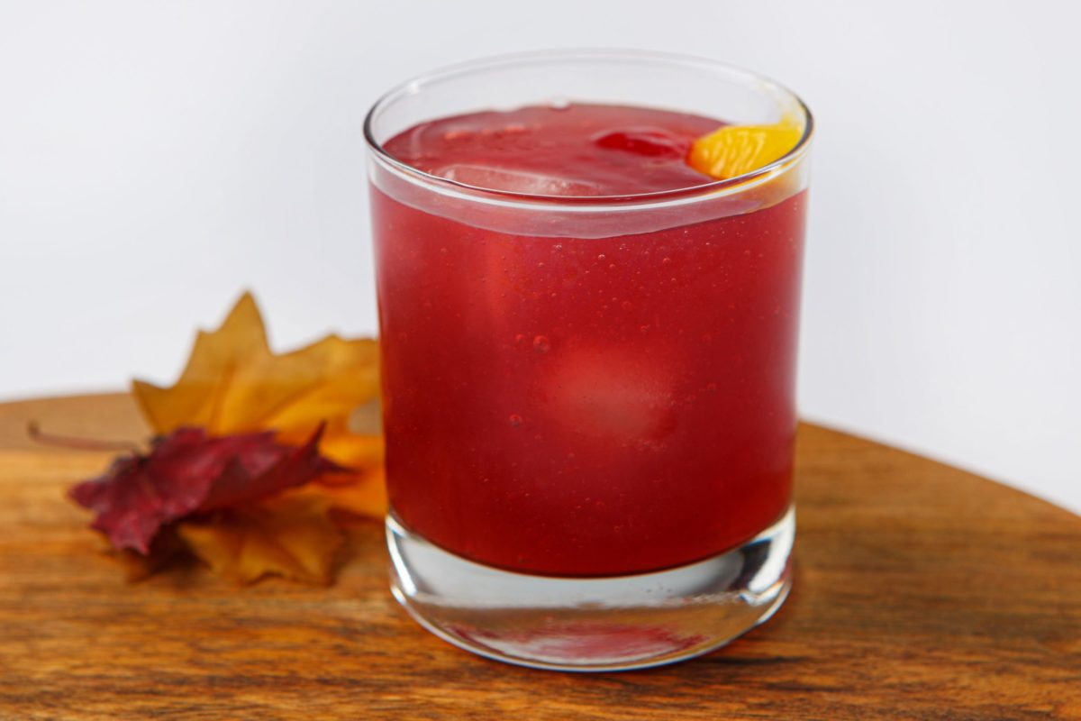 Thickened Fall Harvest punch on table with leaf