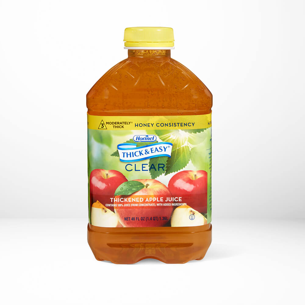 A bottle of Thick and Easy Clear apple juice