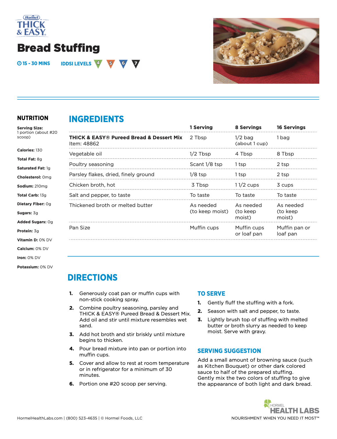 Thick and Easy bread stuffing recipe page