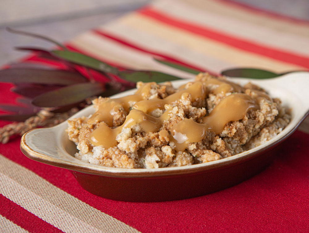 Thick and Easy bread stuffing on a platter