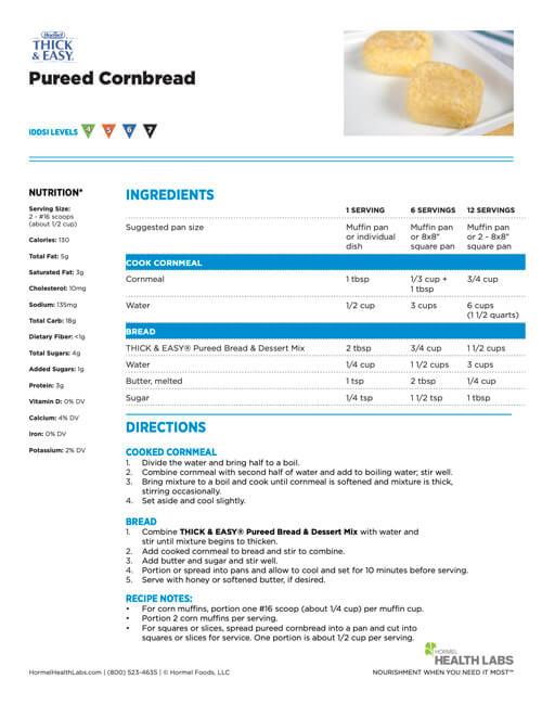 IDDSI 4 5 6 7 pureed cornbread recipe