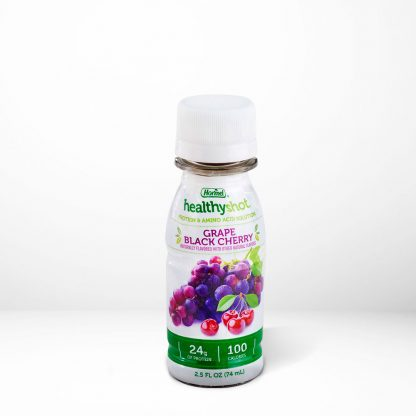 HealthyShot Grape Black Cherry flavor on table with white background