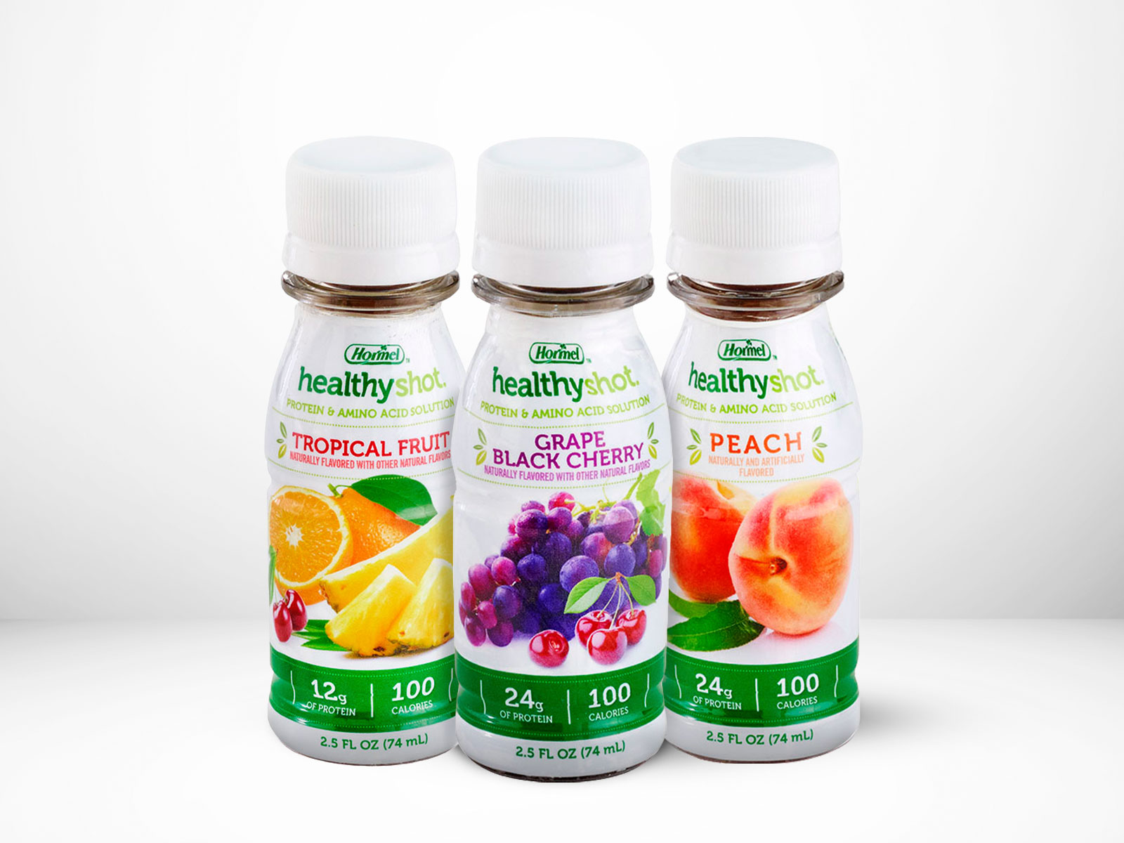 healthyShot all flavors on table with white background
