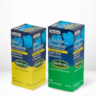 All flavors of Hormel Health Labs Herb-Ox® sodium Free Bouillon