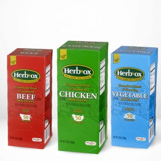 All flavors of Hormel Health Labs Herb-Ox® Instant Broth