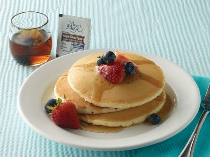 Hormel Health Labs Menu Magic Condiment syrup on pancakes