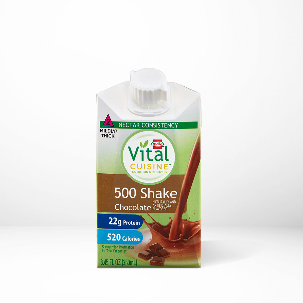Hormel Health Labs Hormel Vital Cuisine Chocolate flavored 500 shake on a table with white background