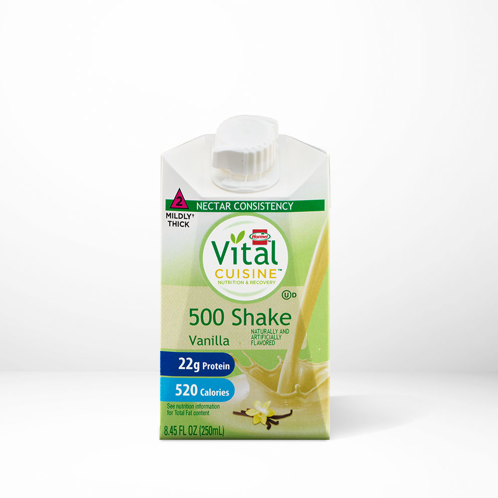 Hormel Health Labs Hormel Vital Cuisine Vanilla flavored 500 shake on a table with white background