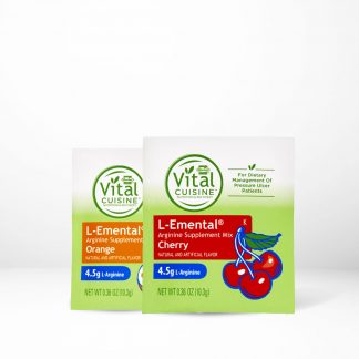Hormel Vital Cuisine L-emental Arginine Drink Mix pouches on table