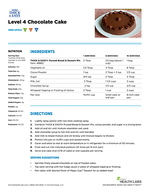 IDDSI Level 4 Chocolate Cake recipe page