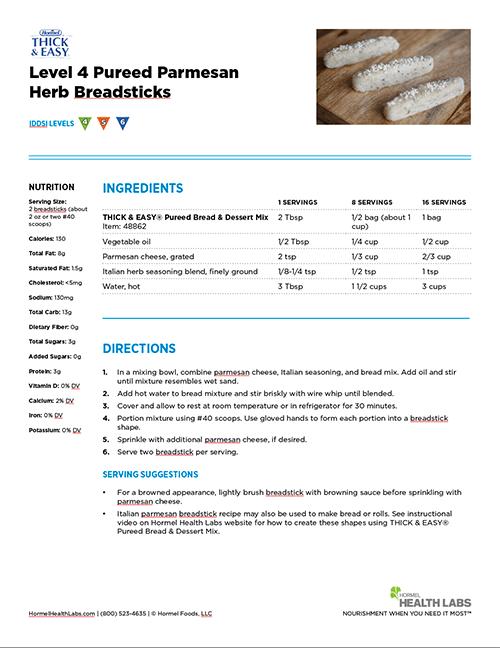 Level 4 herb pamesan breadsticks recipe page