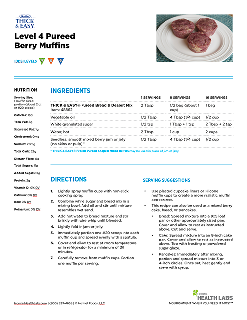 IDDSI Level 4 mixed berry muffins recipe page