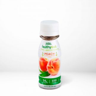 HealthyShot Peach flavor on table with white background
