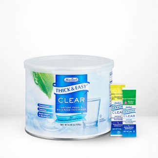 Thick and Easy Clear food and beverage thickener products on table