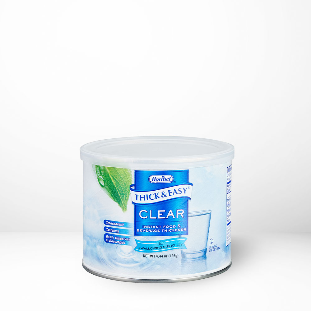 Thick and Easy Clear Thickener in canister on table