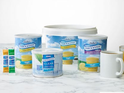 Thick and Easy Instant Food and Beverage thickeners on table