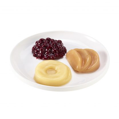 Thick & Easy shaped puree fruit variety pack with pineapple, peaches, pears and mixed berry