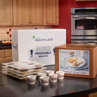 Thick and Easy Pureed Meal Kit box and contents in kitchen